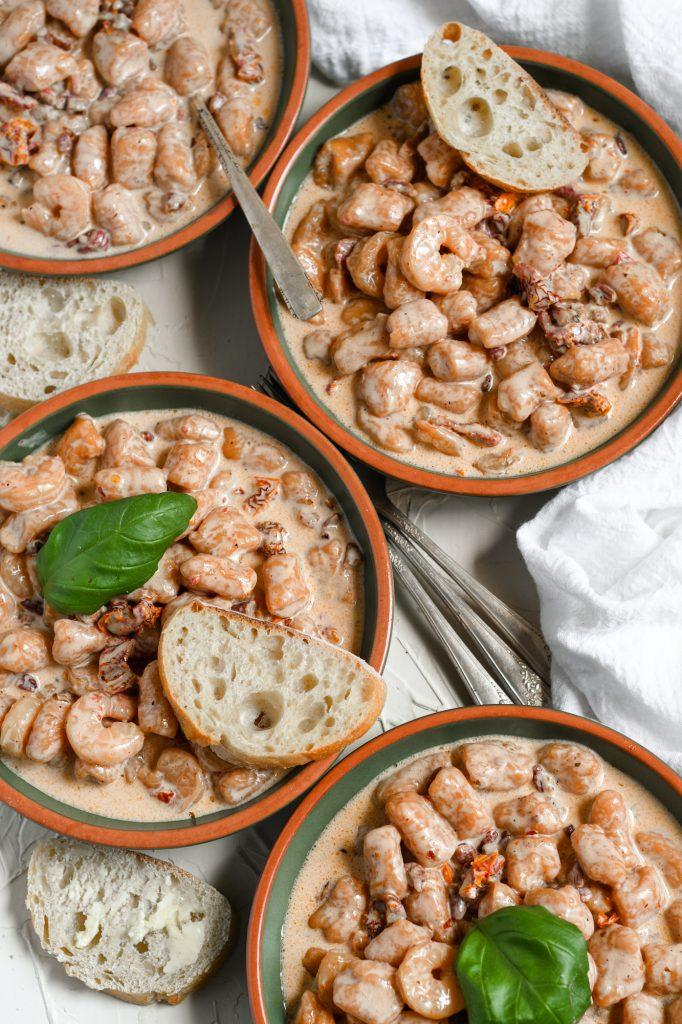sweet potato gnocchi with shrimp
