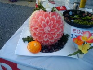 Beautifully carved watermelon at Taste of Alpharetta