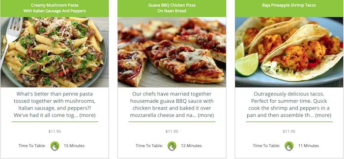 Dinner Thyme menu options