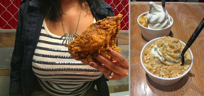 Feed fried chicken at Battery Atlanta